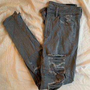 American Eagle Distressed Gray Jeggings